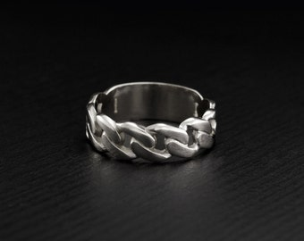 Silver band chain, Men wedding band silver, Unusual silver ring, Chain wedding ring, Unique mens band, Masculine silver ring, Silver ring