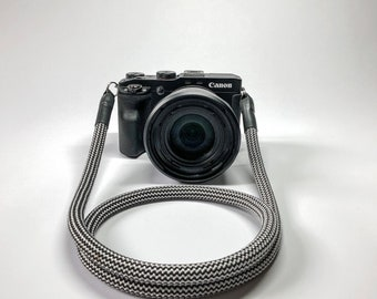Camera Strap for DSLR black/white-Camerastrap-rope-camera strap-10 mm-Universal shoulder strap-carrying strap-Sony Olympus-Seilstyles