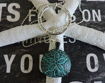 Y Necklace, Pendant Necklace, Sand dollar, Beach Necklace, Saying,  Bohemian, Boho, Silver Chain, Ball Chain