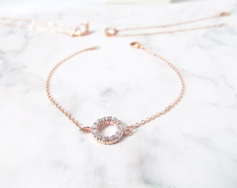 rose gold bridal bracelet, rose gold wedding bracelet, rose gold bridesmaids jewelry, delicate rose gold bracelet, bridesmaids gift bracelet