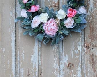 Farmhouse Wreath for Front Door, Spring Wreath, Mothers Day wreath, Front Door Wreath, Shabby Chic Wreath, Everyday Wreath, Floral Wreath