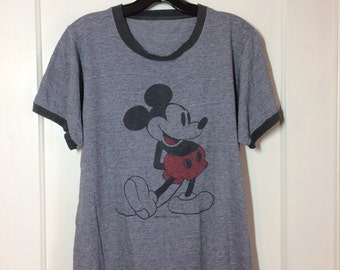 Vintage  1970s Mickey Mouse Heather Gray Tri Blend faded Ringer T-shirt looks size Medium 19x24 perfectly worn in