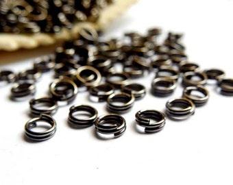 100 Gunmetal Double Loop Split Jump Rings 4mm - 10-GM-4DL