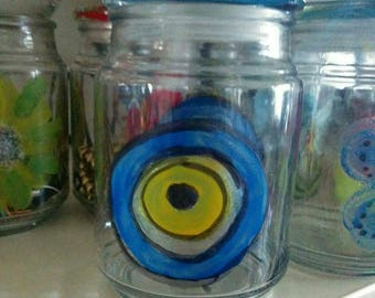 Evil eye Decorated Glass Jar/HAND PAINTED/Upcycled Candle Jar/Collectibles/Christmas Gift/Holidays/Antique/Retro/Jewelry Jar/