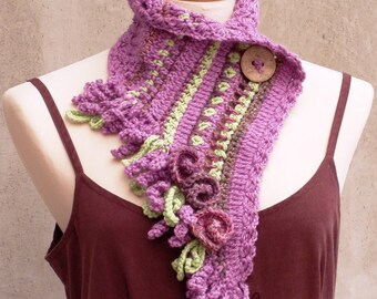Boho neckwarmer, fairy neckwarmer, Pink neckwarmer, Pink scarf, crochet scarf, freeform crochet, fiber art scarf, feminine, boho fashion