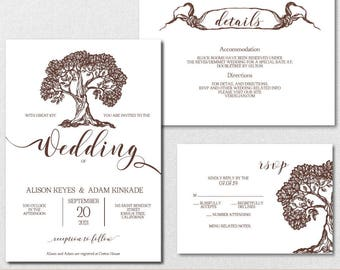 Rustic Wedding Invitation Template, Tree Wedding Invitation,Wedding Invite, Wedding Printable Template,PDF Instant Download | VRD155BWY