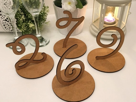 Wooden table numbers Freestanding Wedding sign Rustic table number Laser cut Table numbers stands Wood wedding tag Number Signs Table Marker