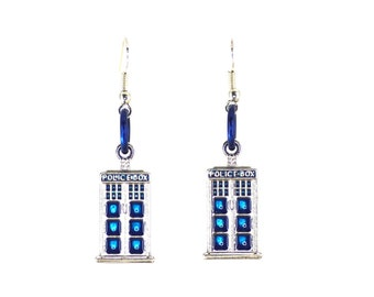 Dr Who earrings , Dr Who inspired Tardis earrings, with blue rings and silver ear wires
