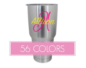 Name Tumbler Decals, Initials Tumbler Decals, Monogram Tumbler Decals, Name Tumbler Stickers, Custom Decals, Custom Stickers