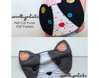 Cat Pouch Pattern & Felt Cat Purse Pattern Bundle - PDF Patterns