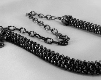 Dark Black Hematite Rondells Kumihimo Necklace with Vintage Black Chain with Black Leaf and Flower