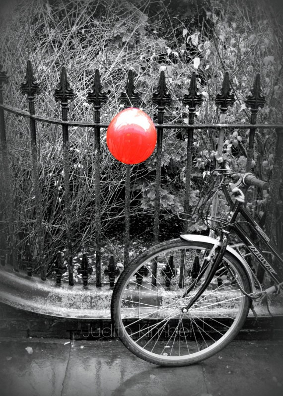 Items similar to black and white photography red balloon bicycle fine art photograph 5x7 on etsy