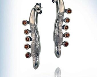 925 solid silver earrings, Garnet studs earrings,long garnet earrings,Casuf jewellry