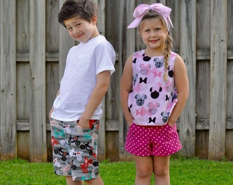 SHORTS Pattern and Pants Pattern - Boys Shorts Pattern - Girls Shorts Pattern - Shorts Pattern with Pockets - PDF Shorts Pattern