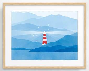 Lighthouse Large Wall Art, Nautical Decor, Modern Art, Mountains, Seascape