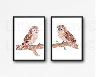 Owl Set of 2 Prints Brown Owl Watercolor Painting Art Print Owl Decor Bird Wall Art Bird Owl Lover Gift Wall Decor Unframed