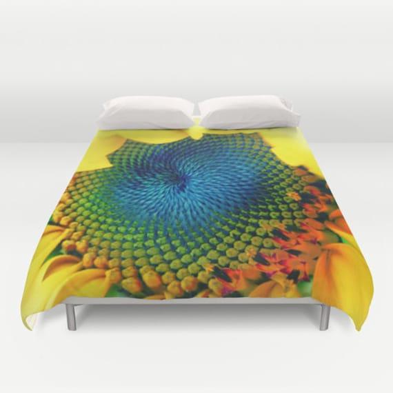 Solar Energy Duvet Cover, Sunny, Sunflower, Yellow, Bright, Happy, Decorative bedding,Unique, Flower, dorm, trend, Bedroom, Cobalt Blue