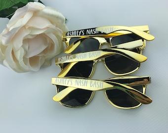 Nashville Favors - Custom Sunglasses - Personalized Sunglasses - Nash Bash - Gold Sunglasses - Black Sunglasses - Bridal Party Sunglasses