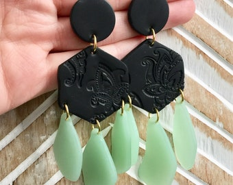 Sea glass dangle earrings, black and grean faux sea glass earrings, sea glass jewelry, polymer clay earrings, clay jewelry, deep sea jewelry