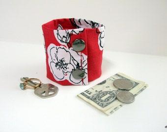 Secret Stash Money Cuff - white flowers on red - hide your cash in a secret inside zipper...