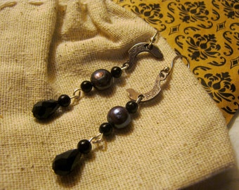 Sterling Silver Engraved Watch Part  Steampunk Purple Pearl Earrings