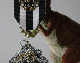 Steampunk Medal with Black and White Striped Ribbon