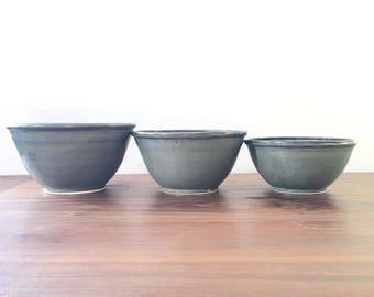Nesting Bowl set- 3 bowls- Slate Gray Glaze