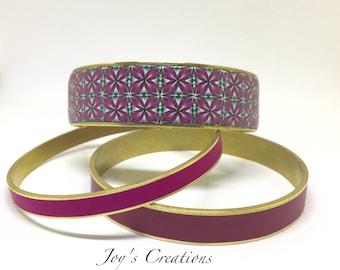 3 Brass Channel Bangle Bracelets