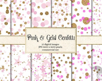 Pink and Gold Glitter Confetti digital paper, pink and gold polka dots printable scrapbook paper, girl baby pink party backgrounds