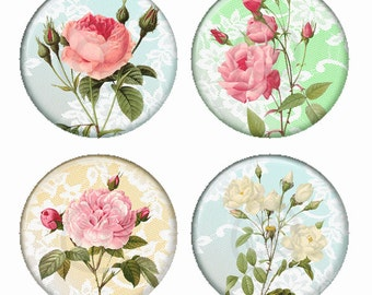 Soft Rose Flowers on Pastel Lace Backgrounds Magnets or Pinback Buttons or Flatback Medallions Set of 4