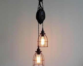 Antique Pulley Pendant Light, Industrial Modern Design