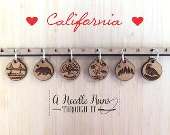California Stitch markers set, sock knitter, knitter gift, snag free stitch markers, San Francisco stitch markers