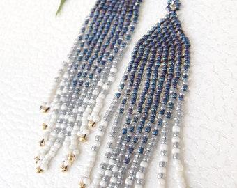 Ethnic earrings, beads, Native American style earrings, CAPRI blue, grey, white, gift for yourself, MOM Gift