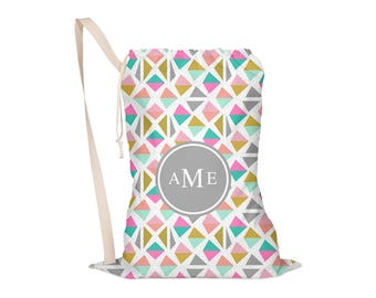 Laundry Bag, Drawstring Bag, Laundry Tote, Laundry Drawstring Bag, Monogrammed, Geometric, Triangles,  Geo Half One