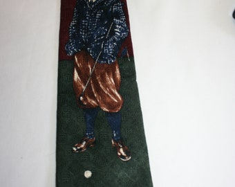 Vintage Christian Dior Monsieur men's neck tie with Golfer
