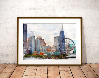Chicago Skyline Watercolor Painting Printable Art Chicago Print Chicago painting Chicago Wall Art Instant Download Cityscape Home Decor