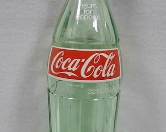 Vintage Coca Cola 32 Ounce Glass Bottle With Cap