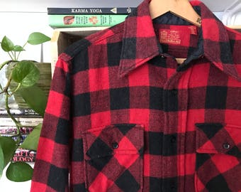 70's Sears Buffalo Check Plaid Wool Shirt // Mens Store Kings Road Shop // Flannel // Size Medium Large // Rockabilly // RARE // Vintage //
