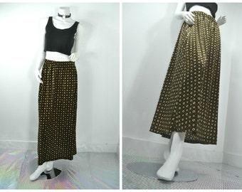 90s grunge daisy brown cream black floral pattern velvet maxi skirt