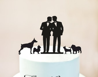 Gay Cake Topper + four dogs,Gay Cake Topper + four Cats,Gay Wedding Cake Topper,Gay silhouette,mr and mr + four Cats,mr and mr + dogs (1087)