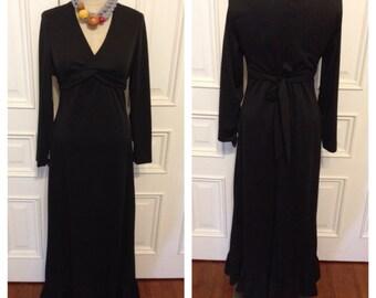 Vintage 70s black long maxi dress