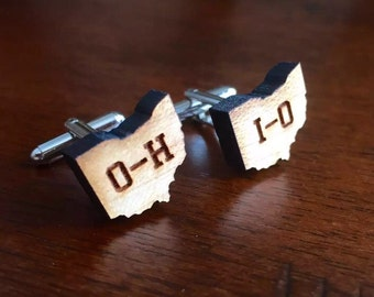 OH-IO Map Wood Cufflinks