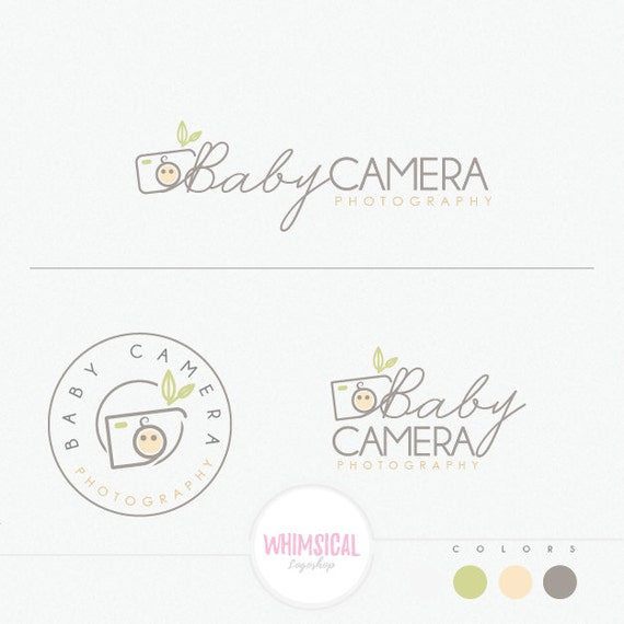 Baby camera logo newborn photography studio branding kit