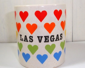Las Vegas, Nevada Souvenir Cup, Mug, Small, Child Size, Ceramic, Red, Orange, Yellow, Green, Blue Hearts1985