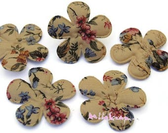 Set of 5 flowers patterned floral fabric vintage embellishment, scrapbooking, card, sewing 3 (ref.610) *.