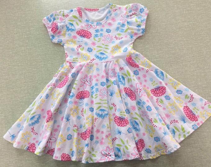 Featured listing image: Emma Twirl Dress Toddler, Little Girls Dress, Soft Cotton Girls Floral Dress Spring Summer Flower Print Dress Fit n Flare Girls Clothing