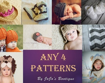Baby Patterns Package - CHOOSE any FOUR Single patterns - Baby Accessory Patterns - Crochet Baby Patterns - by JoJo's Bootique