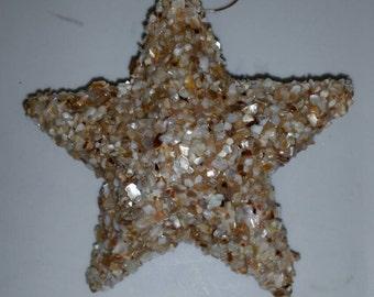 Crushed Seashells Three Dimensional Star Christmas Ornament
