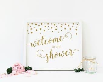 Welcome To The Shower, Baby Shower Sign, Bridal Shower Sign, Gold and White, Gold Confetti, Shower Decorations, Printable - CG1