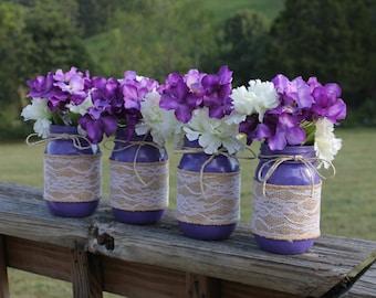 Purple Country Rustic Wedding Mason Jar Centerpieces, Mason Jars, Wedding Decor, Spring Wedding Decorations, Summer Wedding Decorations